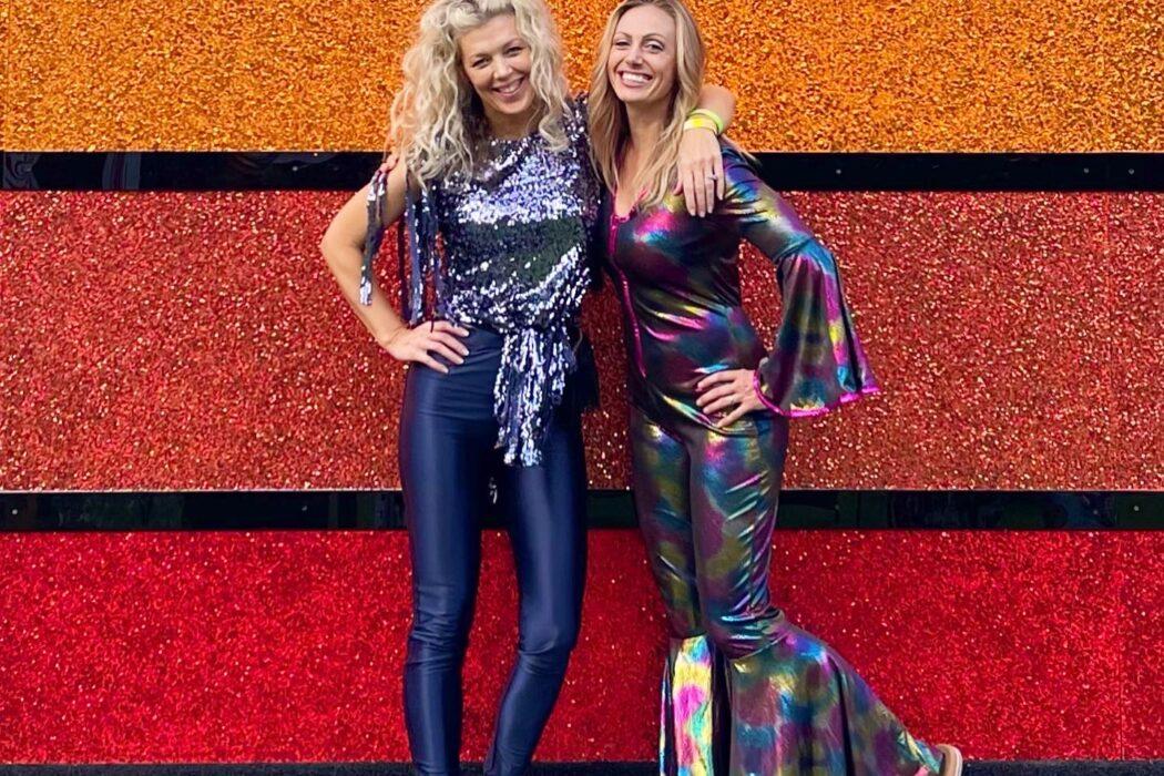 disco fashion, roller disco, disco oasis, discoasis, roller rinks, roller skating, moxi roller skates, disco queens, ombre glitter wall