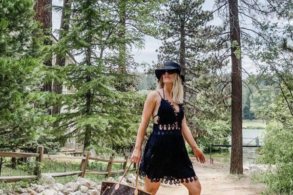 little black dress, summer style, summer dresses, louis vuitton bags, louis vuitton neverfull bag, fashion blog, lake arrowhead