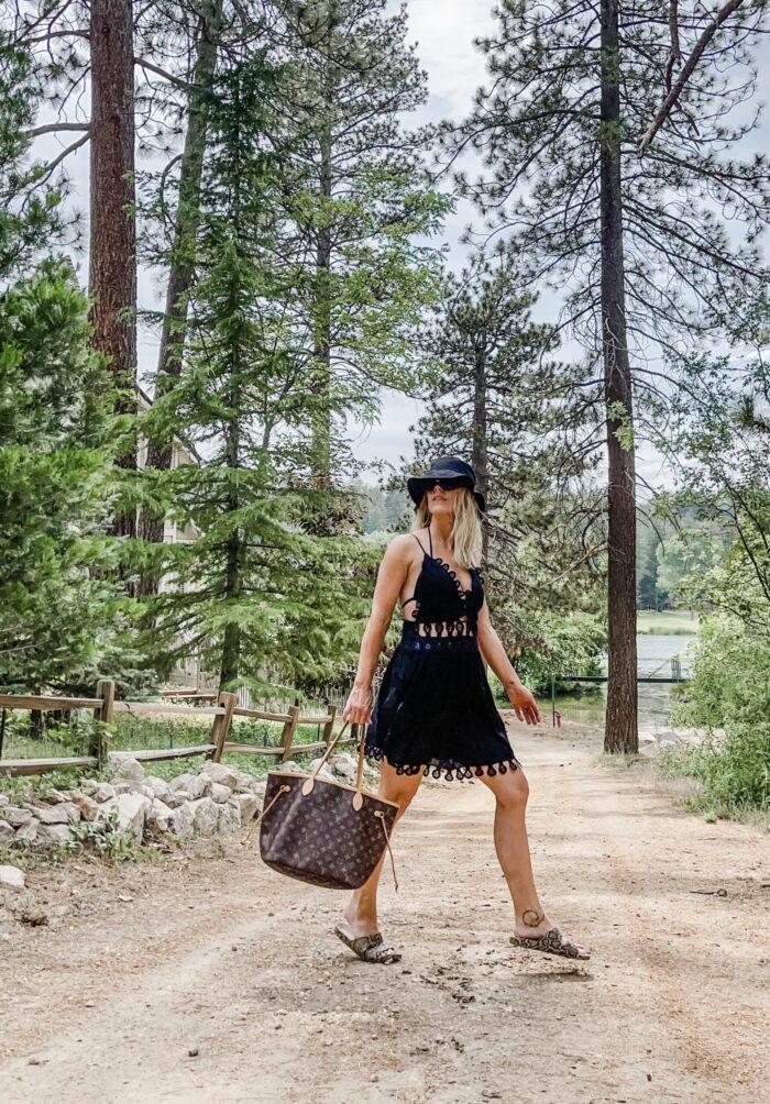 little black dress, summer style, summer dresses, louis vuitton bags, louis vuitton neverfull bag, fashion blog, lake arrowhead, country club, country club golf course, lake arrowhead pool