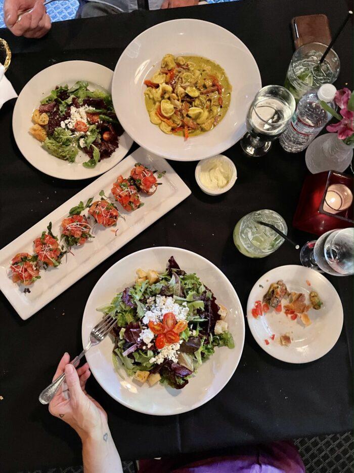 tabletop view, food, restaurant, appetizers, salads, antlers in twin peaks, dinner