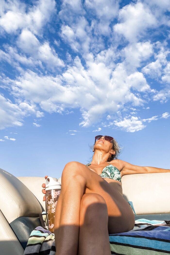 summer on the lake, palm leaf bikini, clouds in the sky, blue skies, lake arrowhead, boat life, lake life, mountain life, summer