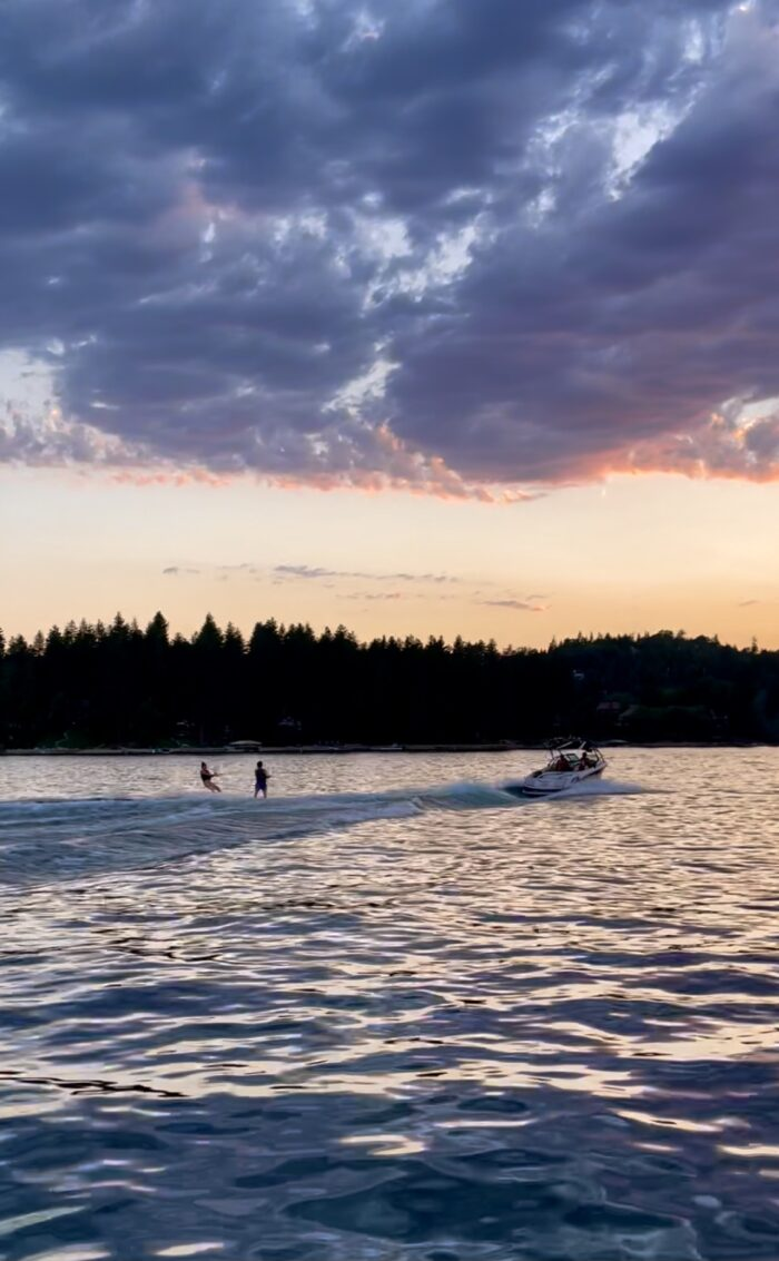 sunset on the lake, lake arrowhead, water skiing, water skiing on lake arrowhead, lake life, boats on lake arrowhead, sunset water ski, double water skiers, water skiers on a lake