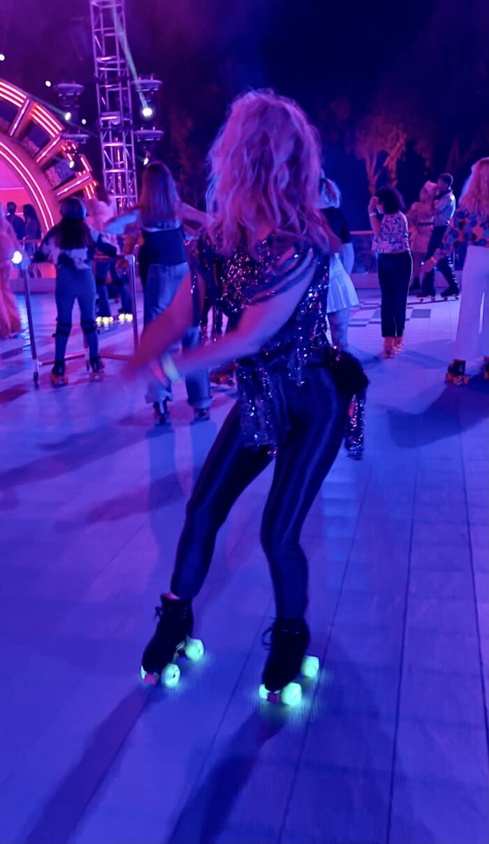 discoasis at the botanical gardens summer 2021, roller disco, roller skating, disco night, 70s roller disco, roller skates, light up wheels, disco oasis