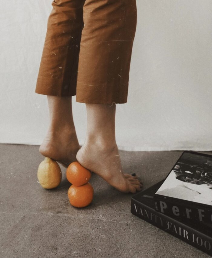 fall outfit ideas, heels with fruit, fruity heels, lemons and oranges