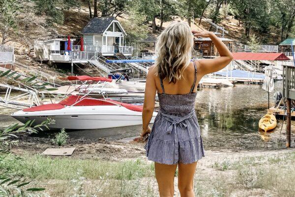 summer style, gingham dress, gingham romper, rompers, summer rompers, sundress, sun dresses, birkenstocks, lake life, lakeside, lake arrowhead, summer outfit inspiration