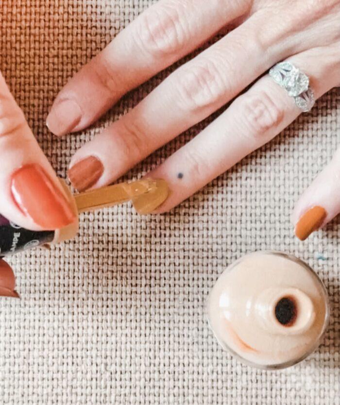 brown nails-fall nail art ideas-french tip hack-fall nails, fall nail ideas, louis vuitton nails,