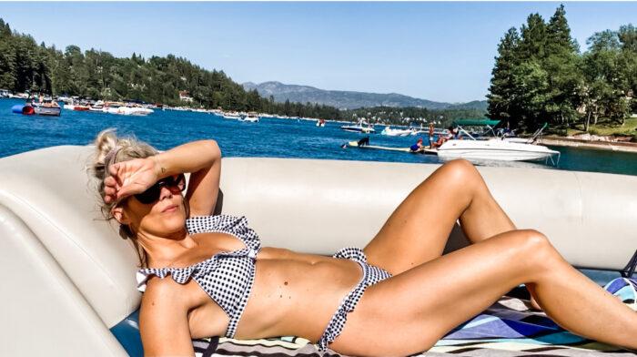 bikini, ruffle bikini, gingham bikini, swimwear, summer, boat style, lake arrowhead, lake life, summer 2021, cute bikini
