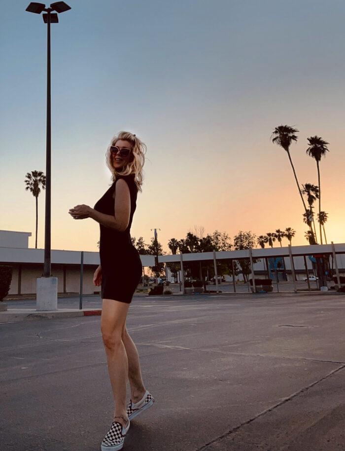 little black dress, tank dress, dresses with vans, checkered vans, dresses and tennis shoes, palm trees, sunset, city sunset, california sunset, palms and parking lots, parking lot sunset, san bernardino