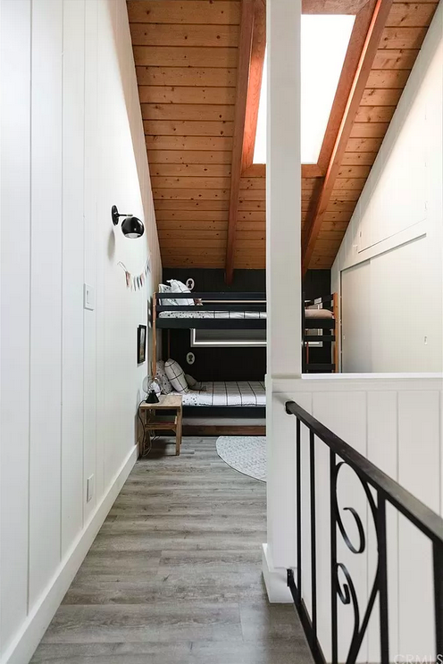 perfectly styled mountain bunk beds loft area