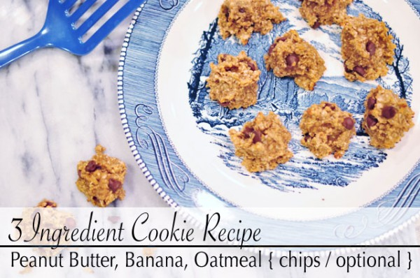 3 ingredient cookies -banana peanut butter oatmeal recipe