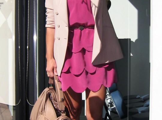scallop hem dress with blazer - blush tones