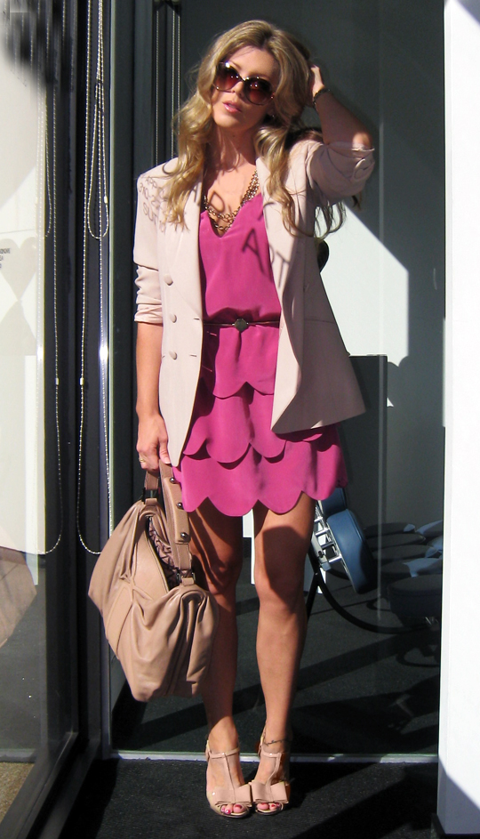 scallop hem dress with blazer - blush tones