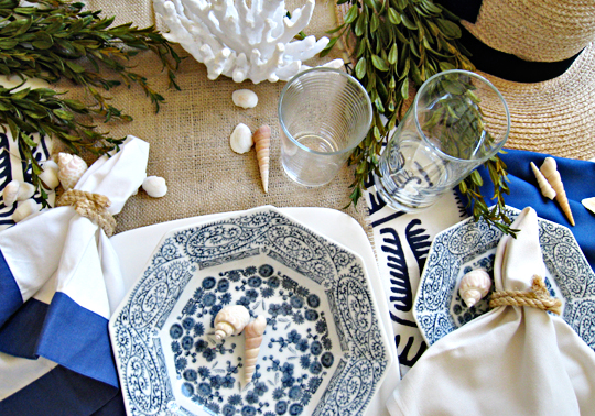 DIY Rope Napkin Rings -Nautical Blue and white Table setting