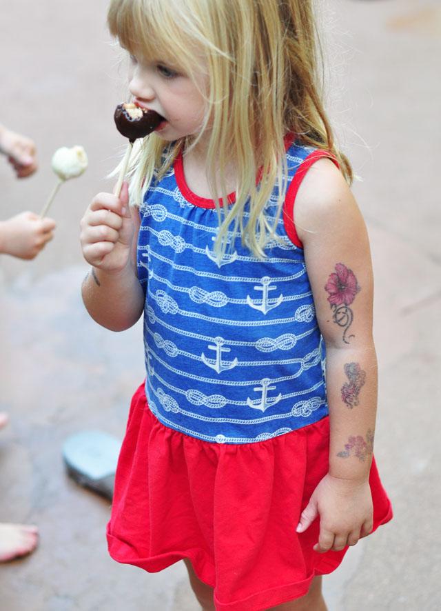 4th of july cake eating kiddo