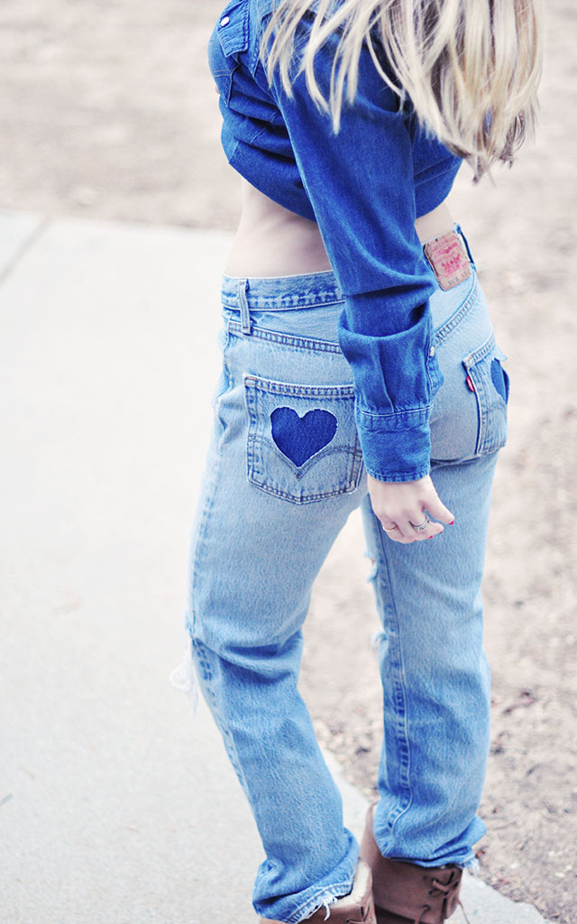 501 Vintage  Levis_DIY Heart Pockets