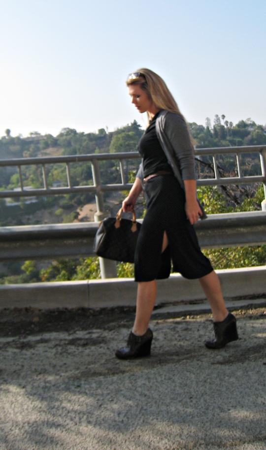 90s polka dot dress with Louis Vuitton speedy bag