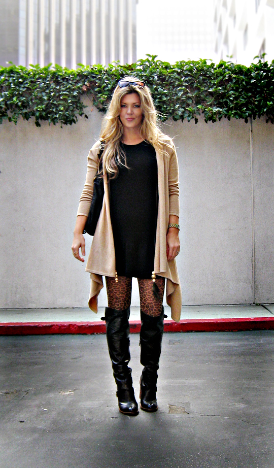 layered knits-leopard tights-over the knee boots