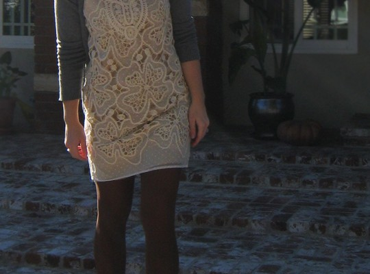 ivory dress-brown tights-gray boots and cardigan