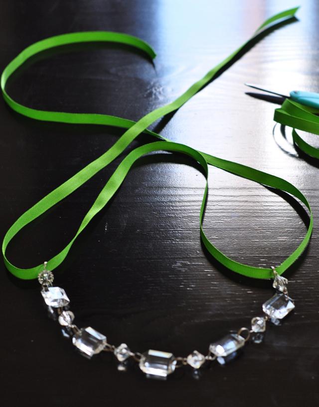 DIY Crystal and Ribbon Necklace