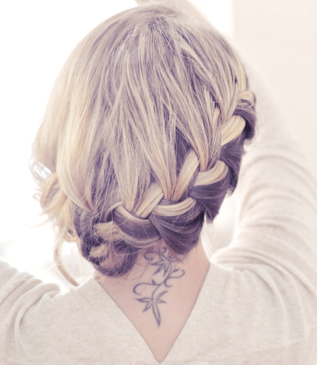 low french braid updo hair style