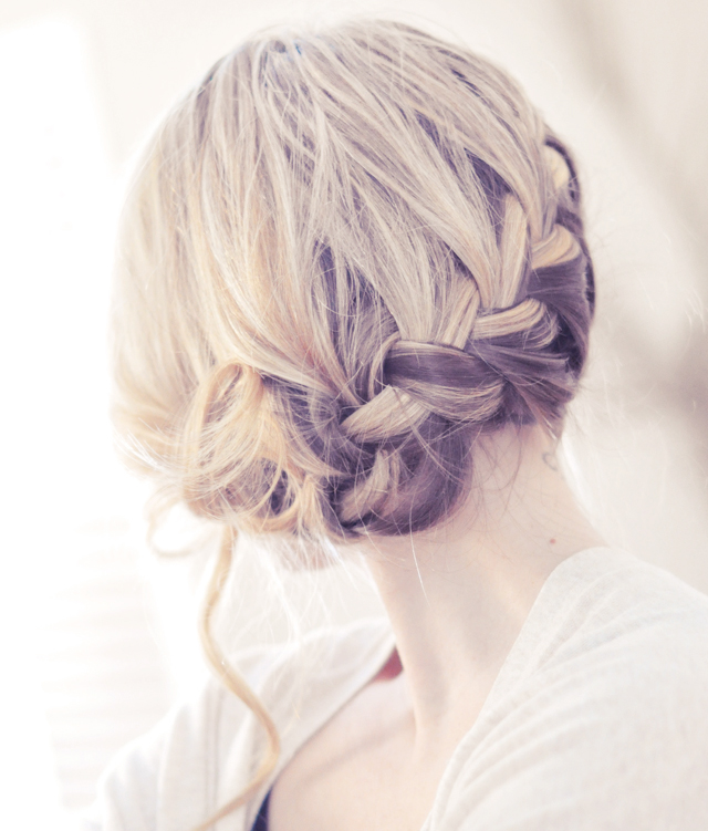 low french braid updo hair style video tutorial
