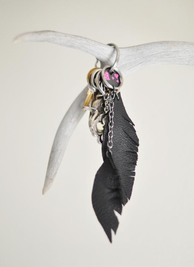 DIY Leather Feather Key Fob