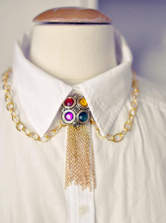 DIY Gold Tassel Bejeweled Necklace