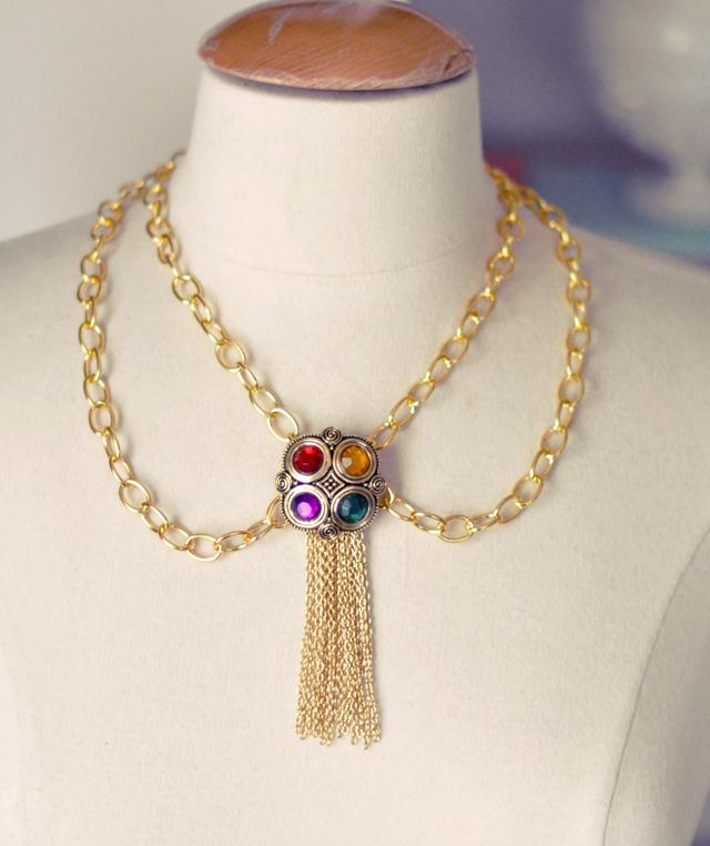DIY Gold Bejeweled Tassel Necklace - 90s Chanel