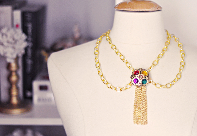 DIY Gold Bejeweled Tassel Necklace - 90s Chanel