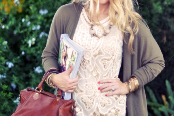 ivory crocheted lace dress + vintage ralph lauren bag + september issue vogue 2011