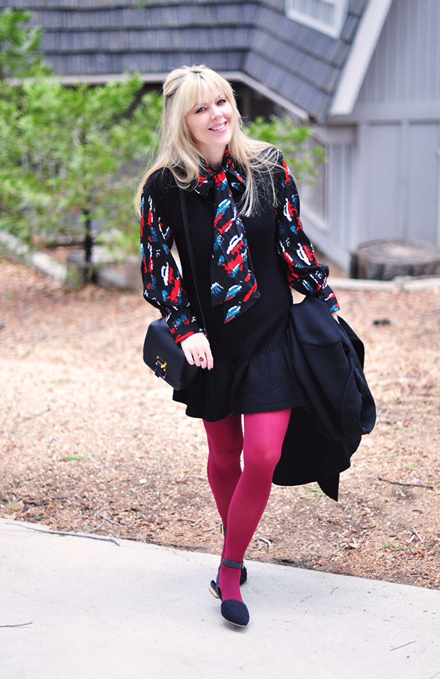 60s sweater dress with burgundy tights