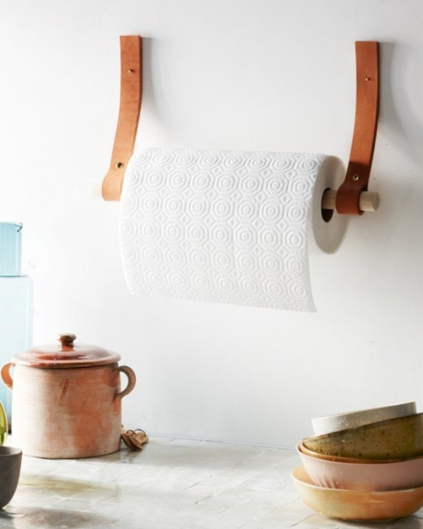 DIY Paper Towel Holder with Leather Straps