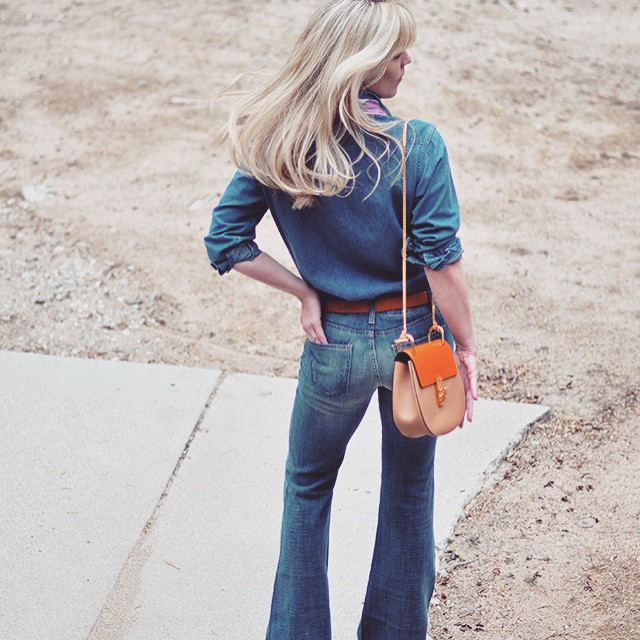 70s denim on denim_chloe drew bag