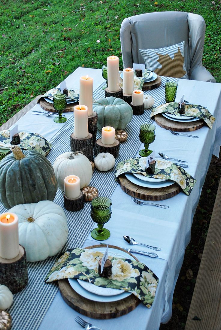 faded greens thanksgiving tablescape