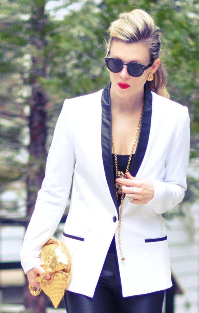 90s look-white blazer- 2 red lips-gold accessories