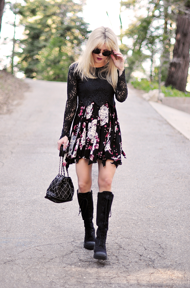 90s style_floral dress_lace crop top_combat boots_chanel bag