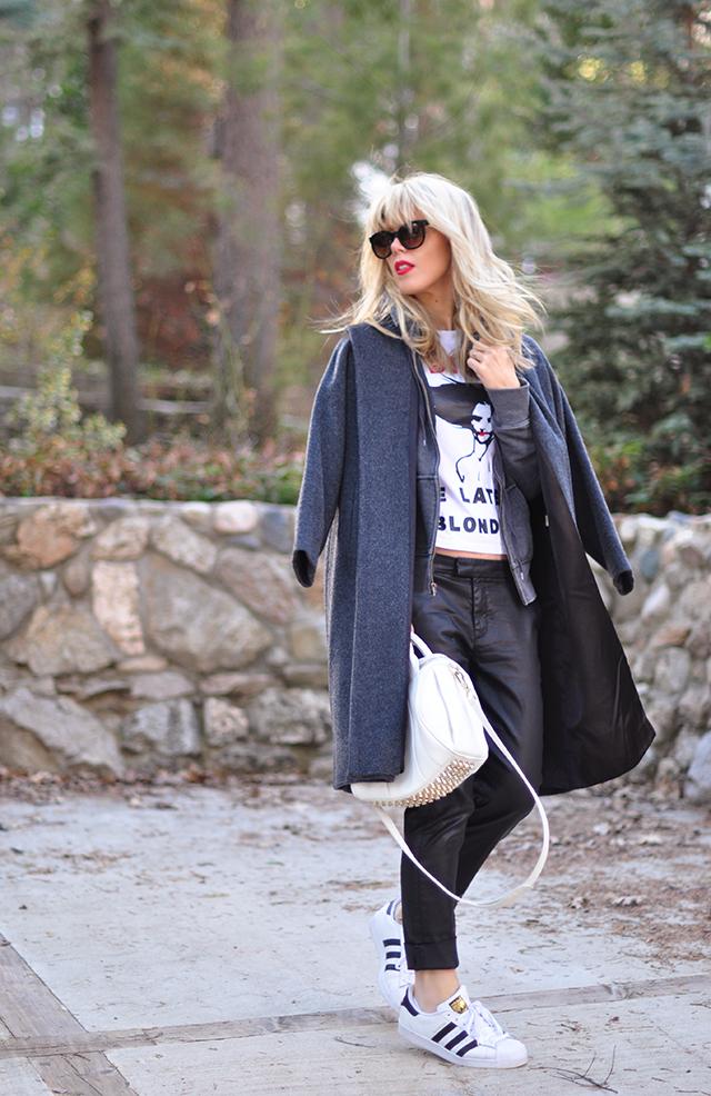 Adidas_Dior T-shirt_leather pants