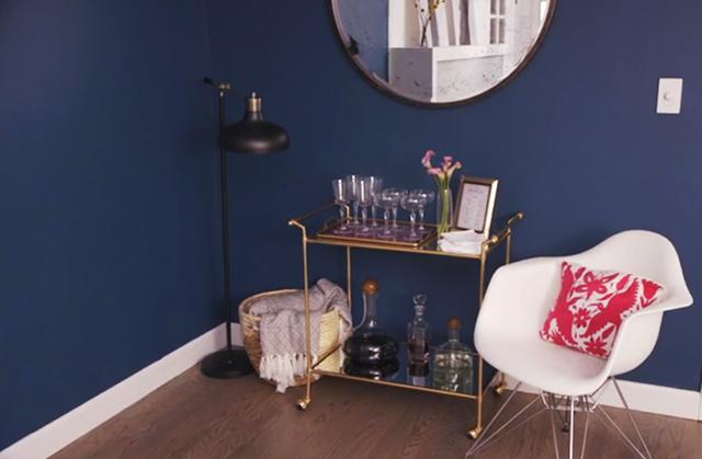 Antique mirror DIY_Bar cart DIY_Blue walls
