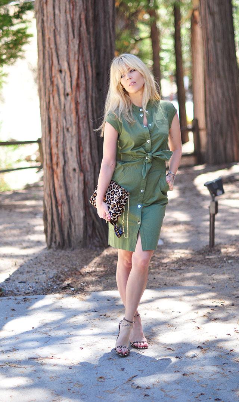 Army green marc jacobs dress  + leopard print shoes bag