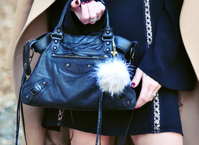 Balenciaga bag with pom bag charm
