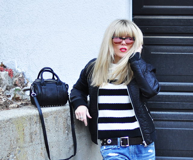 Black and white on black and white _ red lips_blonde bangs