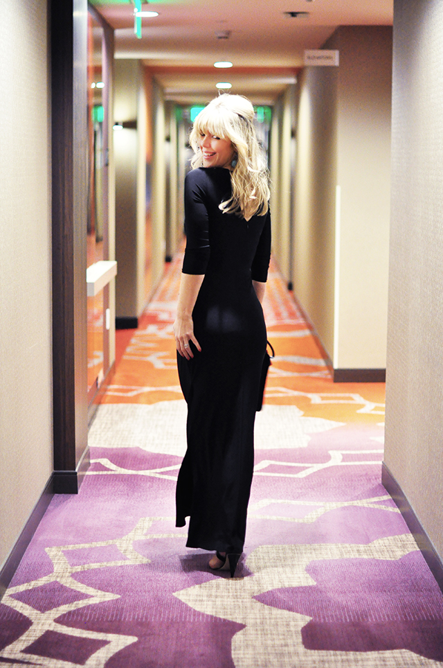 Black body con formal dress_ Residence Inn LA Live Hotel Hallway