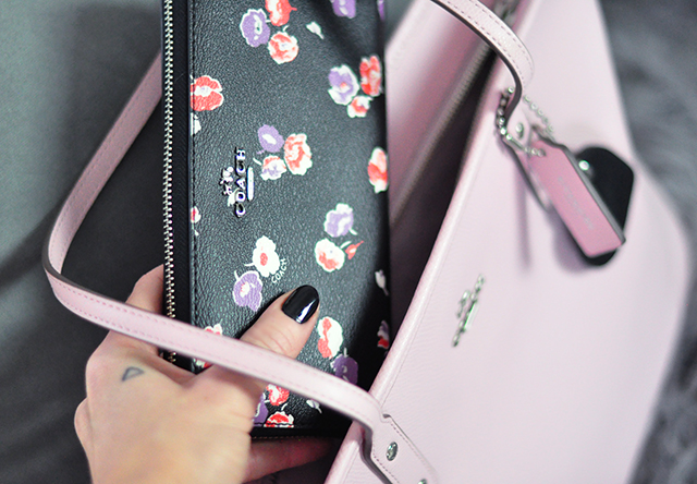 Black floral zip around coach wallet_Pink tote bag