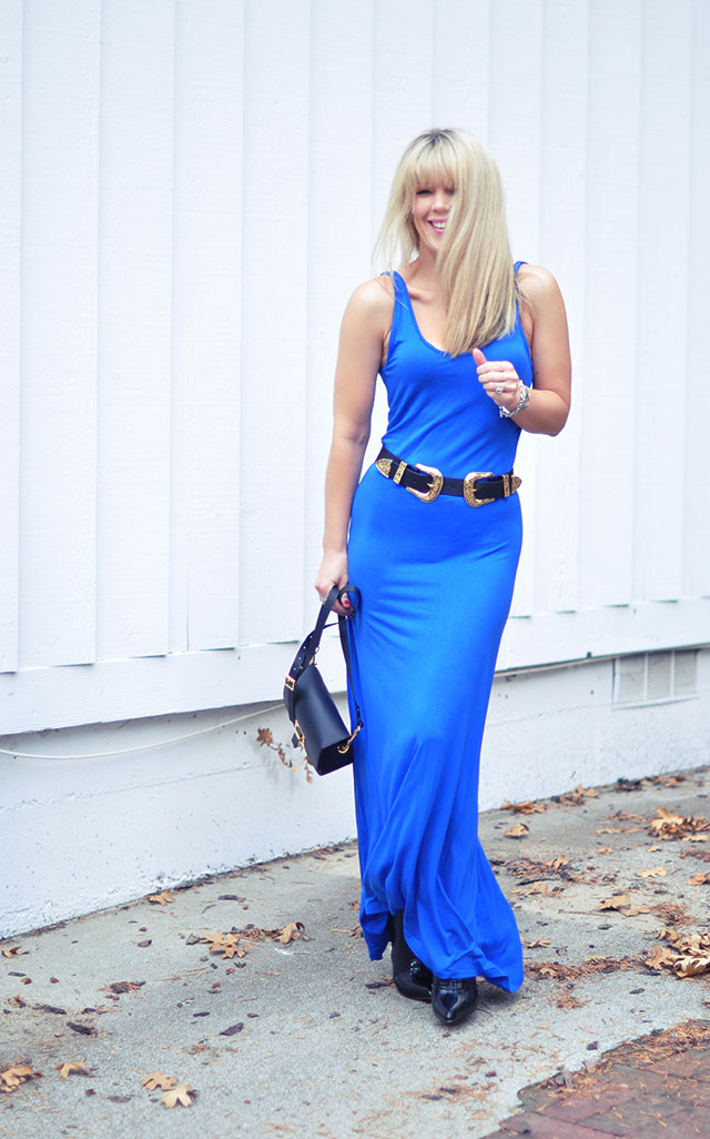 Blue tank dress with b-low the belt