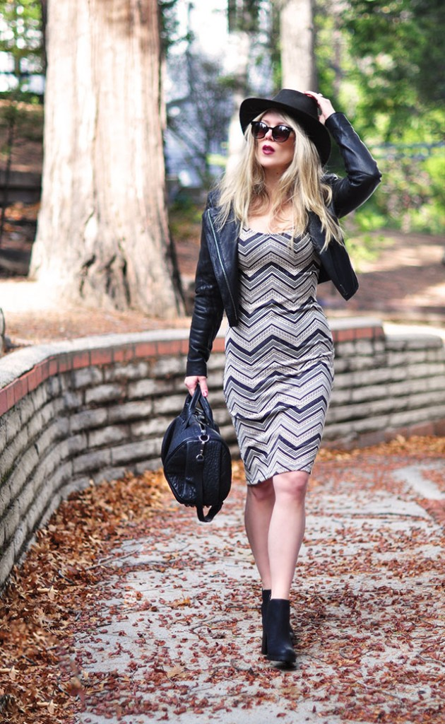 Body con chevron dress +hat+boots