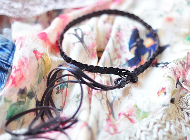 Boho braided choker with fringe