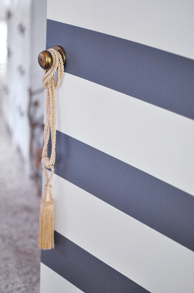 Bold Striped door_antiqued doorknob_vintage tassel
