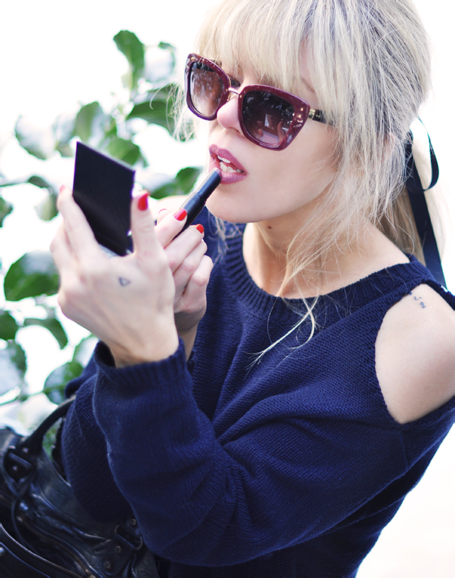 Borghese ColorStruck lipstick in Release_Open shoulder sweater