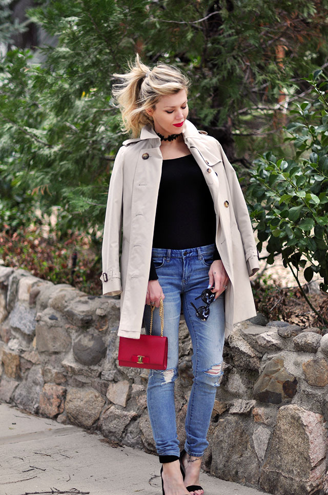 Burberry trench coat_jeans_red bag