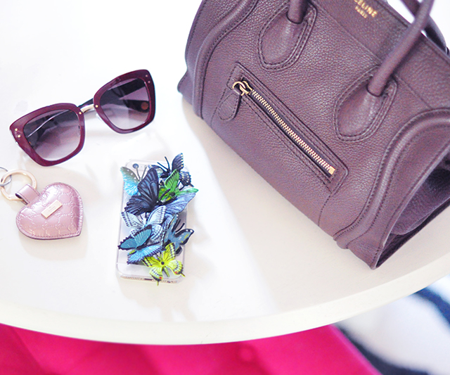 Butterfly iPhone case_sunglasses_Gucci heart key fob_celine bag